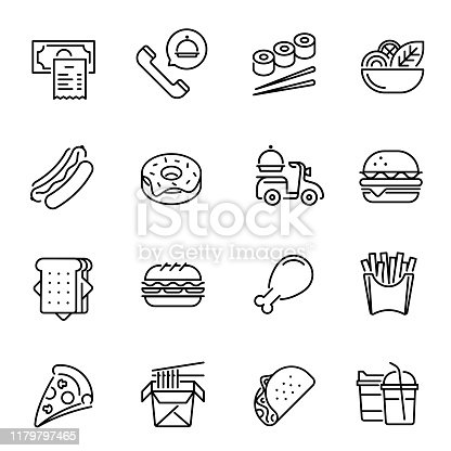 Fast food and drinks vector linear icons set. Takeaway products. Pizza, burger, sushi, fries thin line illustrations pack. Unhealthy nutrition. Takeout menu items isolated clipart collection