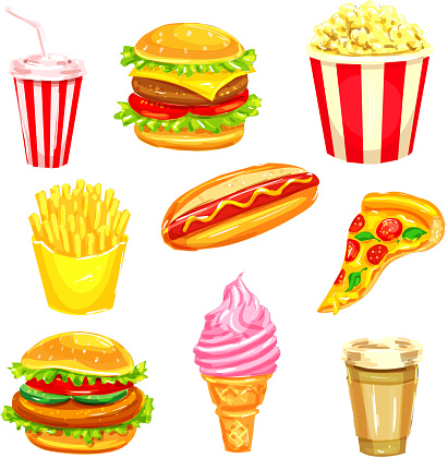 Fast Food And Drinks Watercolor Illustration Set Stock