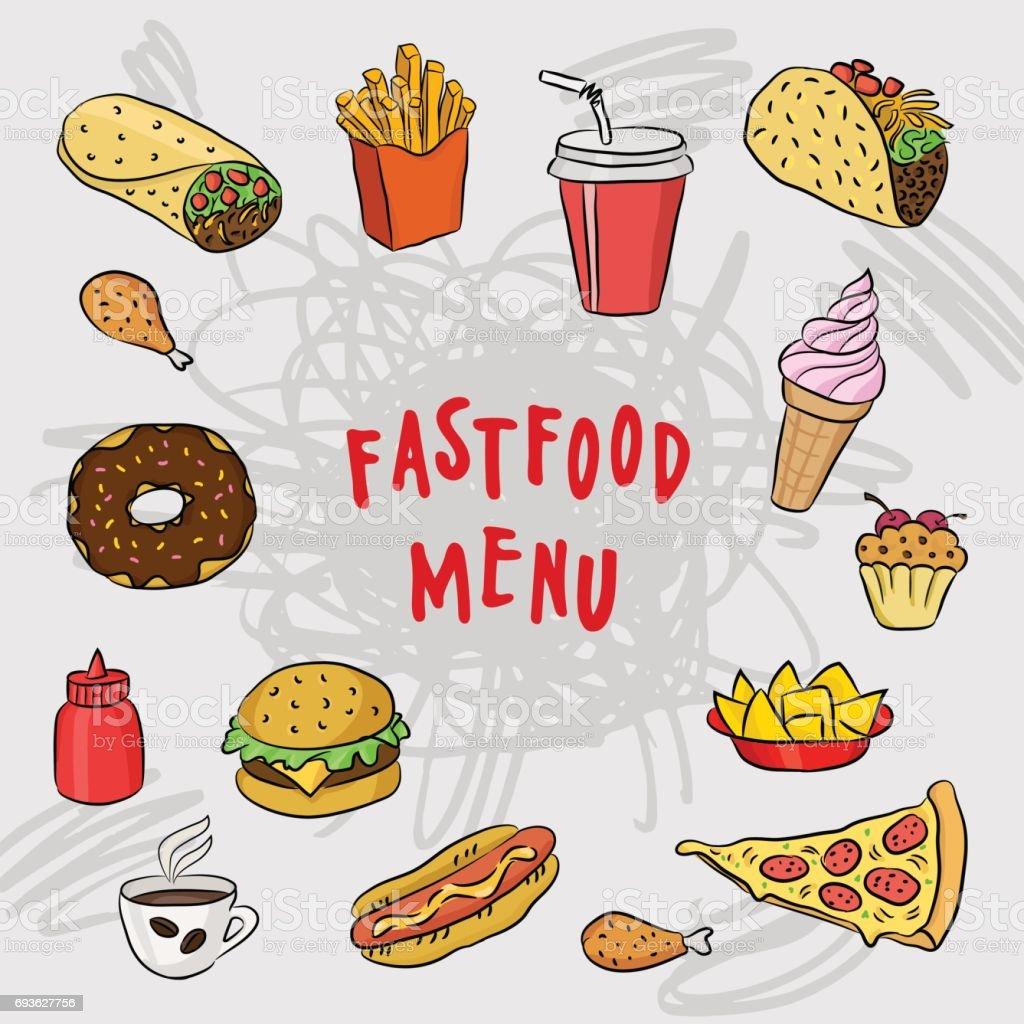 Fast Food Und Mexikanische Küche Menüvorlage Abdeckung Mit Hand ...