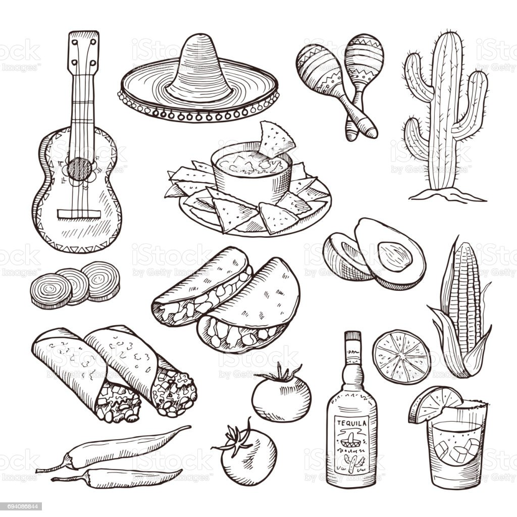 Fast food and other mexican culture elements. Sombrero, guitar, tequila and tacos. Vector hand drawn set vector art illustration