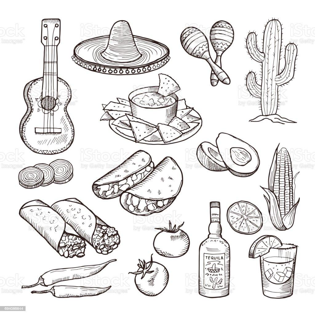 Comida rápida y otros elementos de la cultura mexicana. Sombrero, guitarra, tequila y tacos. Vector mano dibujada conjunto - ilustración de arte vectorial