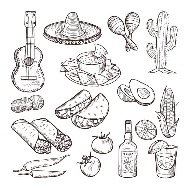 fast food and other mexican culture elements. sombrero, guitar, tequila and tacos. vector hand drawn set - mexican food stock illustrations, clip art, cartoons, & icons