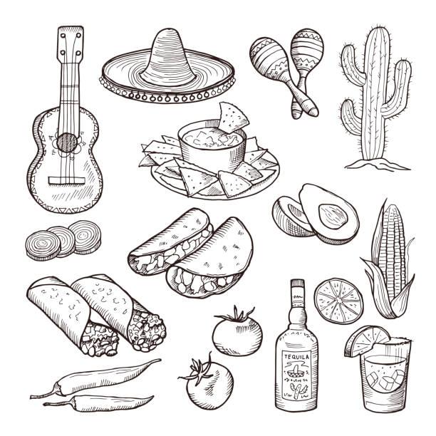 Restauration rapide et autres éléments de la culture mexicaine. Sombrero, guitare, tequila et tacos. Vector ensemble dessiné à la main - Illustration vectorielle
