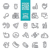 Food, Cooking, Restaurant, Pizza, Fast Food Restaurant, line icons set