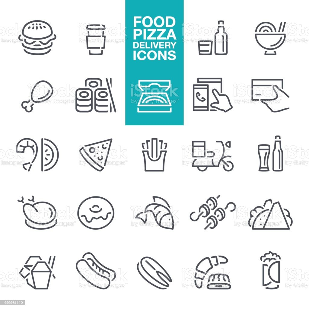 Fast Food and Pizza delivery line Icons vector art illustration