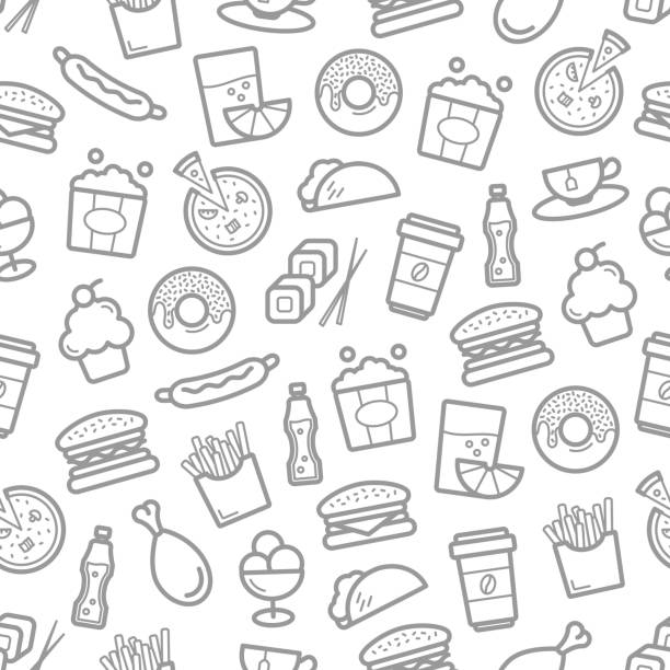 Fast food and seafood vector seamless pattern vector art illustration