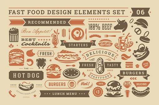 Fast food and street signs and symbols with retro typographic design elements vector set for restaurant menu decoration