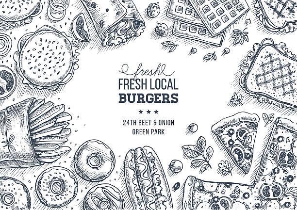 stockillustraties, clipart, cartoons en iconen met fast food background. engraved top view illustration. vector illustration - tafel restaurant top