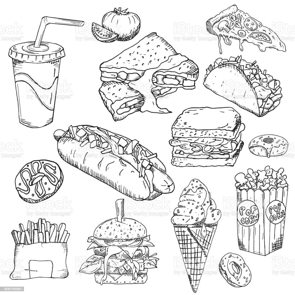 Fundo de fast-food. Coleção de lanche. Comida de plástico. Ilustração vetorial, papel de parede, pano de fundo. Esboço extraído mão vintage - ilustração de arte em vetor
