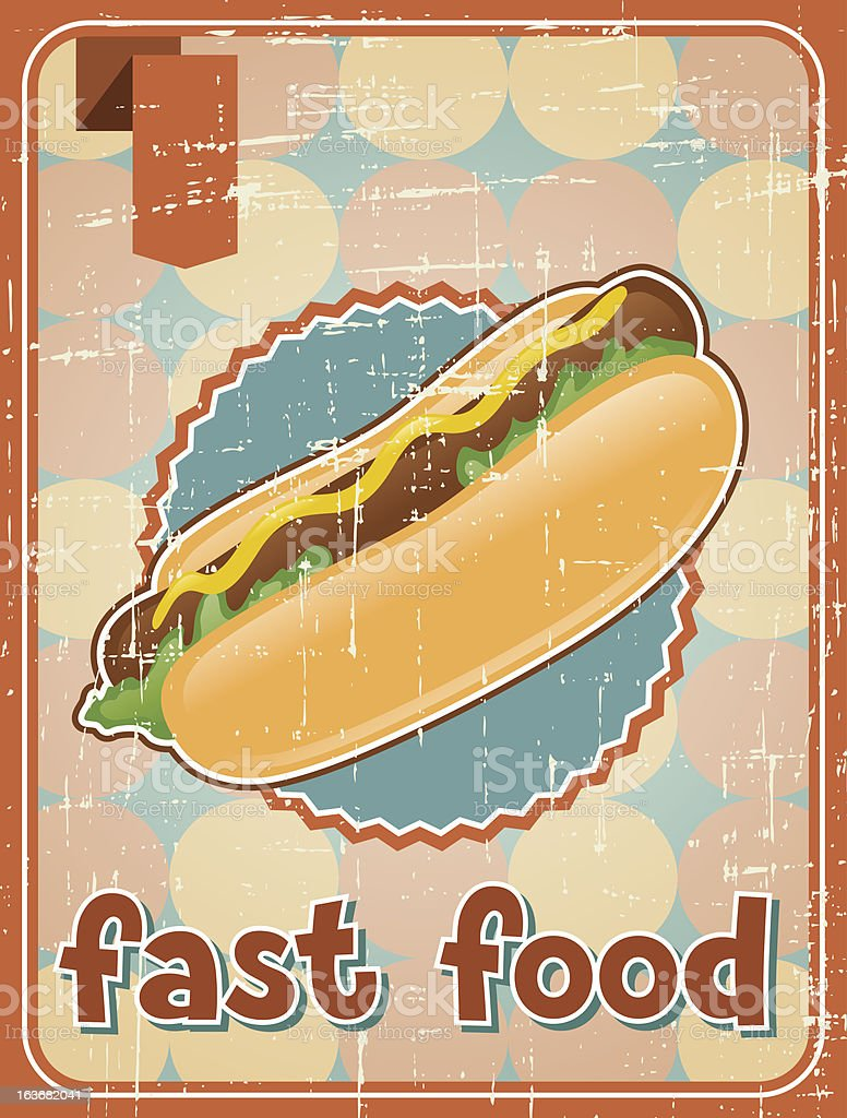 Fast food background with hot dog in retro style. royalty-free fast food background with hot dog in retro style stock vector art & more images of animal markings
