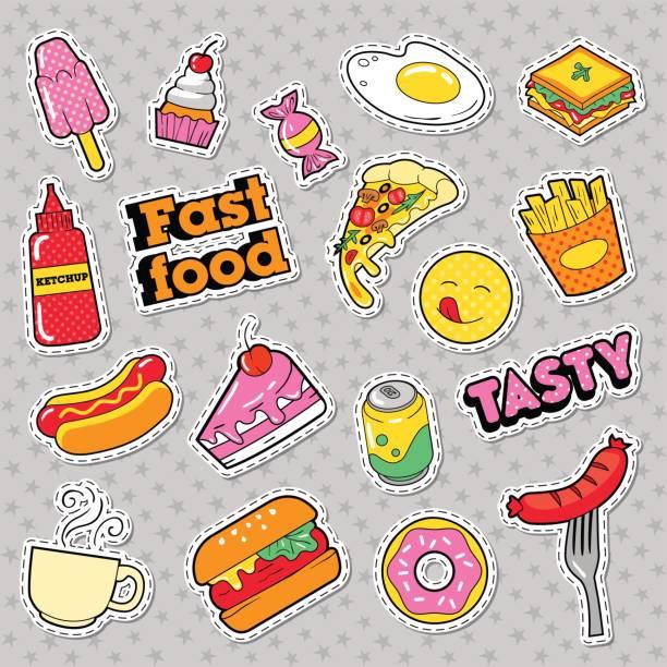ilustraciones, imágenes clip art, dibujos animados e iconos de stock de comida rápida insignias, parches, pegatinas - comida chatarra