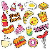 Fast Food Badges, Patches, Stickers with Burger for Prints
