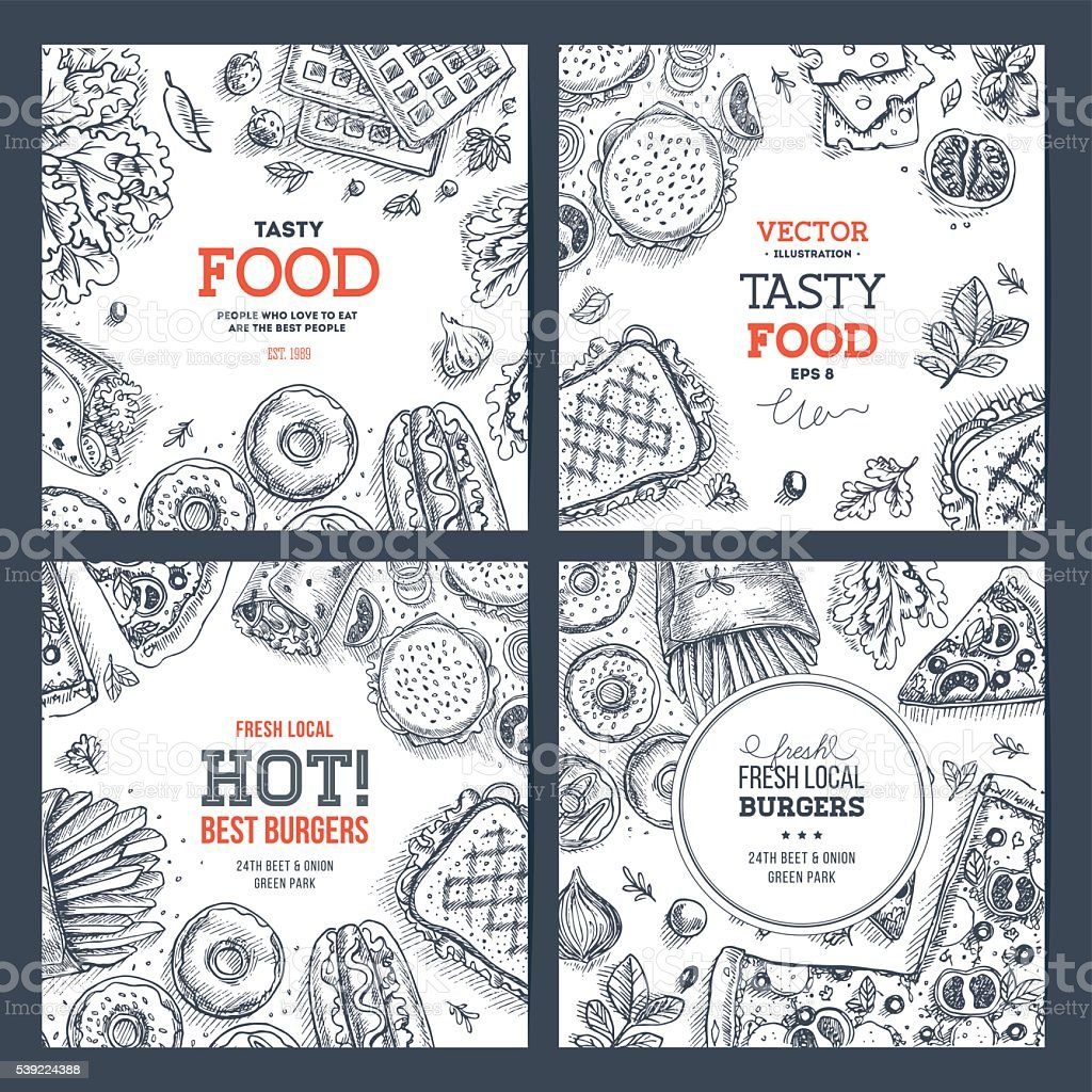 Fast food banner collection . Linear graphic. Snack collection. vector art illustration