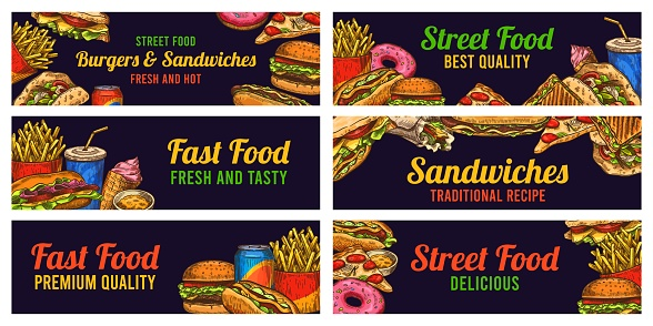 Fast food banners. Sketch hamburger and hot dog, pizza and fries, burger, donuts and cola, advertising restaurant advertising vector set
