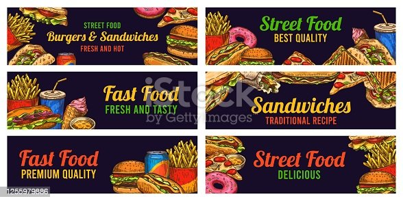 Fast food banners. Sketch hamburger and hot dog, pizza and fries, burger, donuts and cola, advertising restaurant advertising vector set. Hand drawn food sandwiches. ice cream. Best quality, tasty