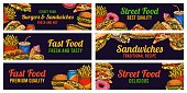 istock Fast food banners. Sketch hamburger and hot dog, pizza and fries, burger, donuts and cola, advertising restaurant advertising vector set 1255979886