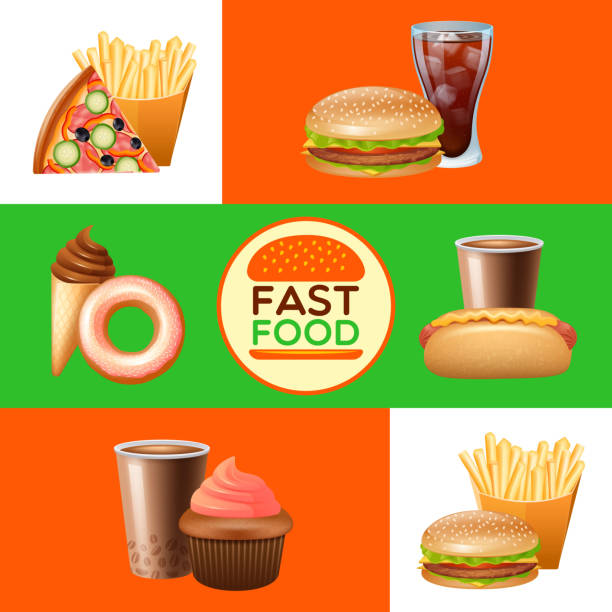 banery fast food - burger and chicken stock illustrations