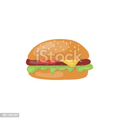 Fast Food big hamburger vector icon. Unhealthy eating cartoon illustration isolated on white background