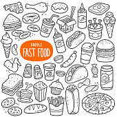 Fast food doodle drawing collection. Food such as pizza, burger, donuts, chicken wing, onion ring etc. Hand drawn vector doodle illustrations in black isolated over white background.