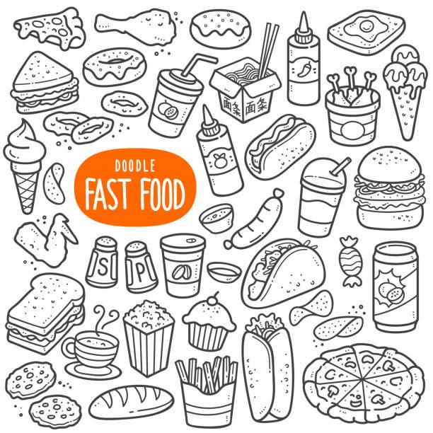 illustrazioni stock, clip art, cartoni animati e icone di tendenza di fast food black and white illustration. - spuntino