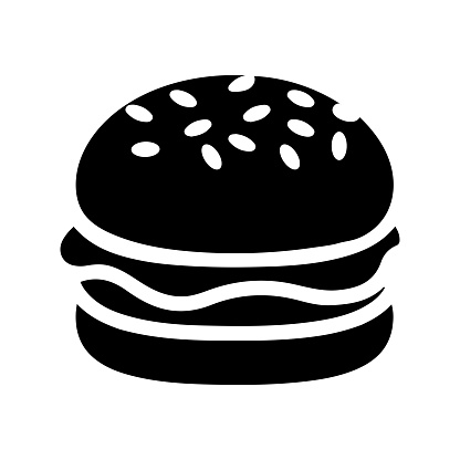 Fast food, black burger icon is isolated on white background