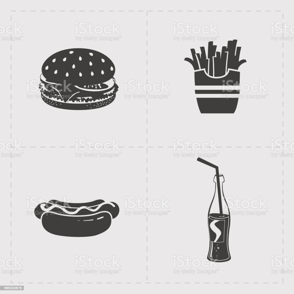 Fast Food Black Icon set on White fast food black icon set on white - arte vetorial de stock e mais imagens de almoço royalty-free