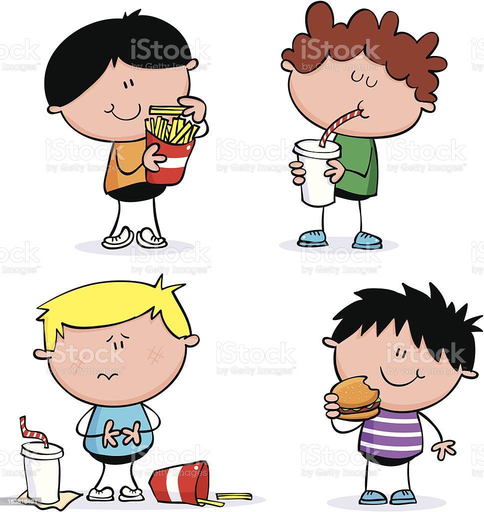 Fast food boys vector art illustration