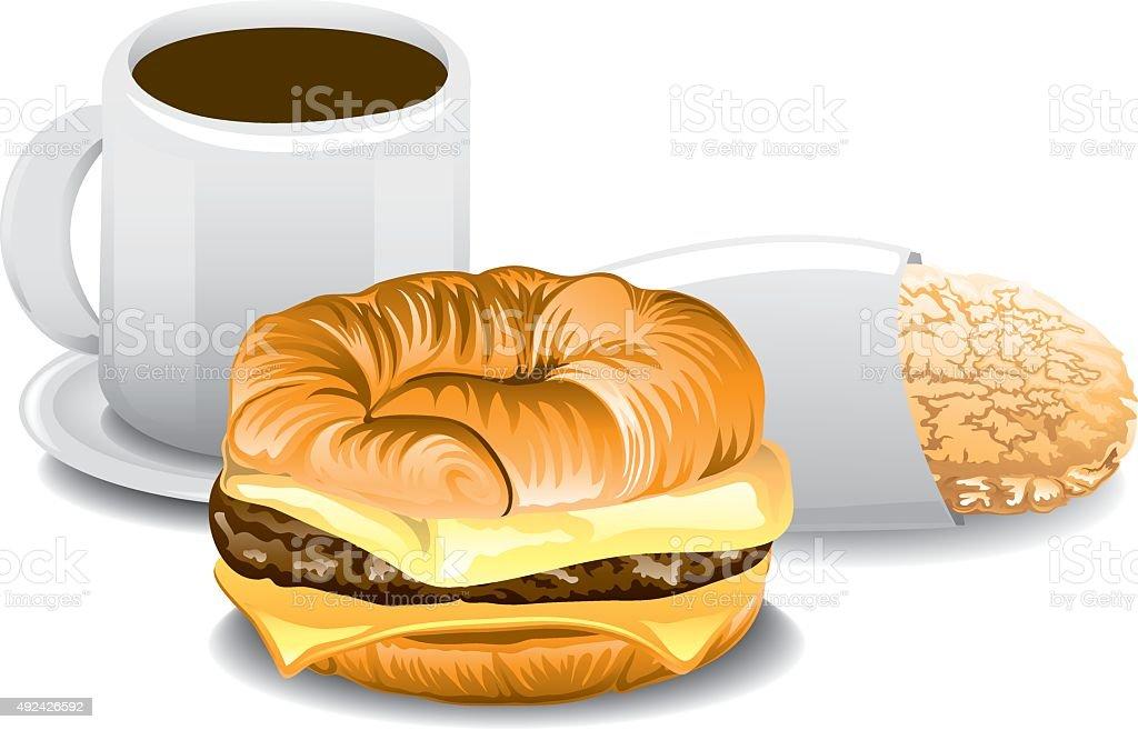 Fast Food Breakfast vector art illustration