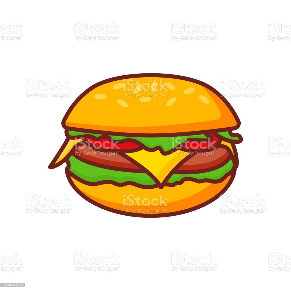 Fast Food Burger Icon Burger Icon Vector Hamburger Sign Or