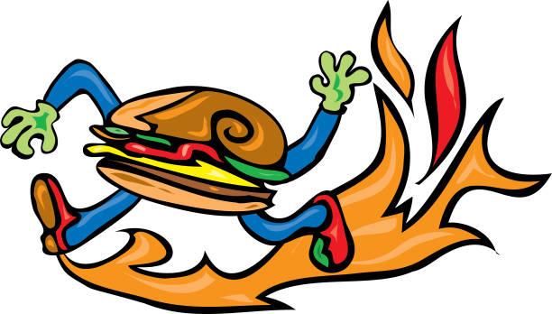 Fast food burger running on fire vector art illustration