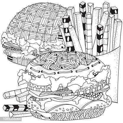 istock Bebida de la comida rápida. Página de libro para colorear para ...