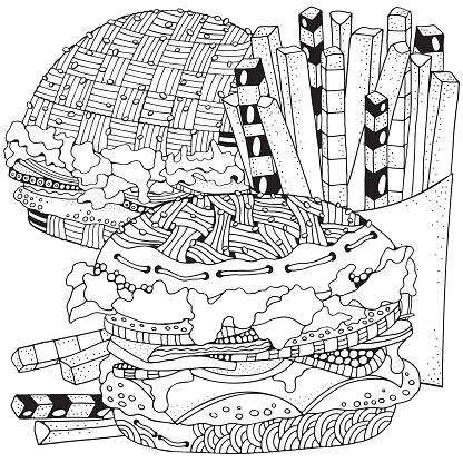 Fast Food Hamburger Patates Kizartmasi Boyama Kitabi Sayfasi Siyah