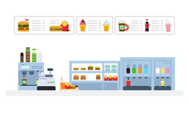 fast-food-café und bar flache isoliert - salatbar stock-grafiken, -clipart, -cartoons und -symbole
