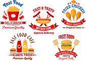 Fast food cafe and grill restaurant icons with bright cartoon burgers, takeaway french fries with sauce cups, grilled hot dog and fried chicken legs with ketchup and mustard squeeze bottles, framed by ribbon banners, spatulas, chef hat and headers