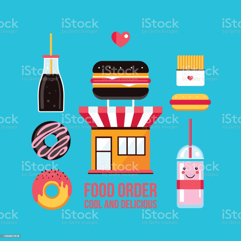 Fast Food Cafe Facade And Food Icons Set Stock Vector Art