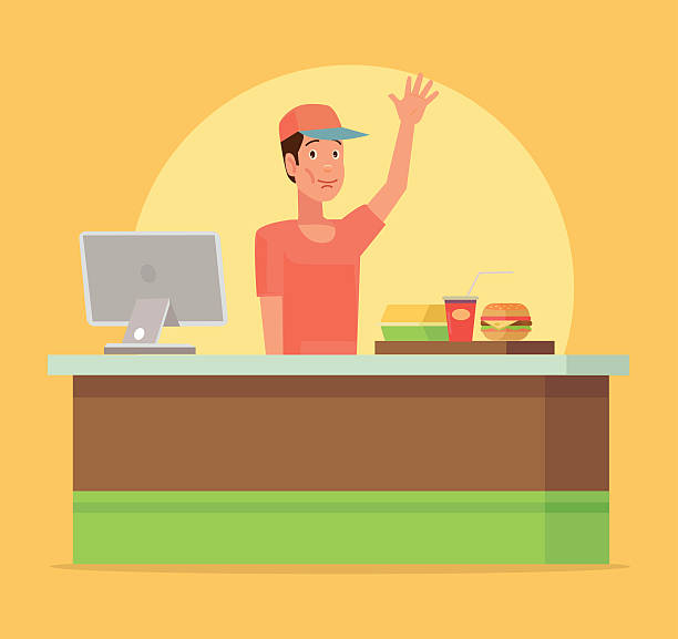 Cashier Cartoons: Best Man Eating Pizza Illustrations, Royalty-Free Vector