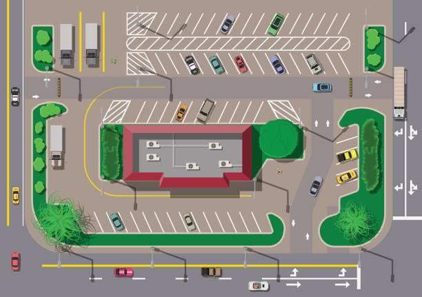 stockillustraties, clipart, cartoons en iconen met fast food café restaurant en parkeergelegenheid voor auto. - parking