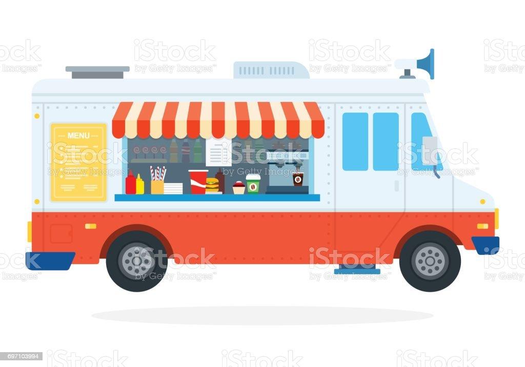Fast food car flat isolated vector art illustration