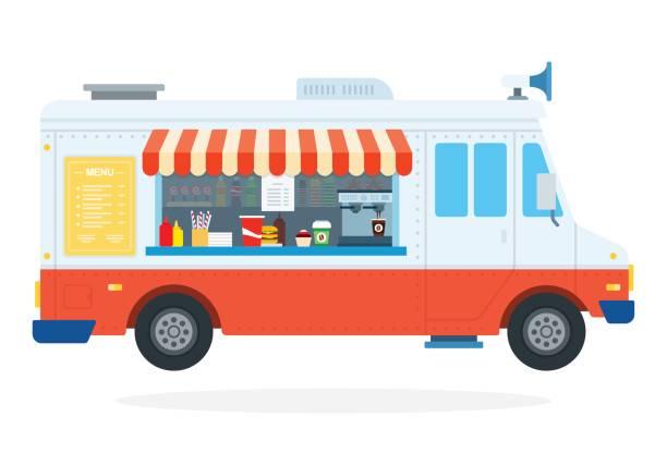 fast-food auto flach isoliert - imbisswagen stock-grafiken, -clipart, -cartoons und -symbole