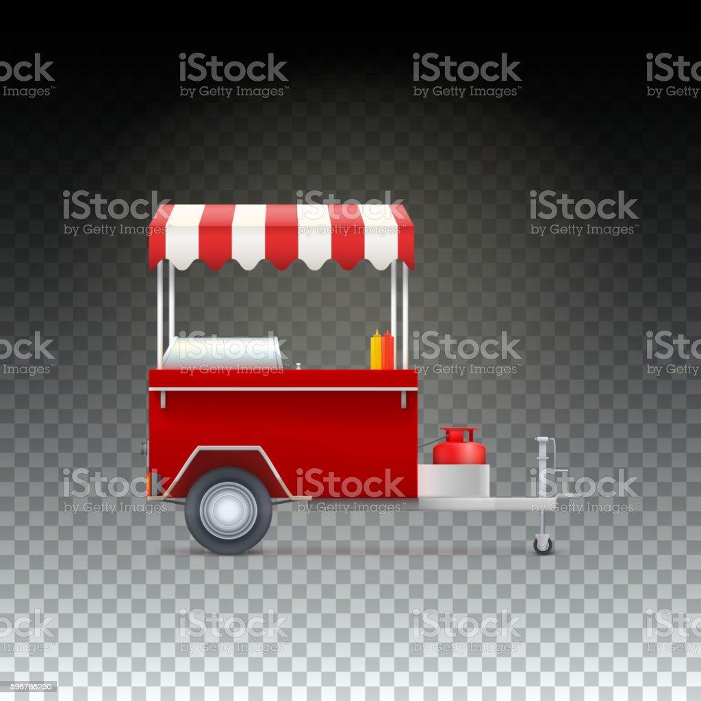 Fast food cart, street shop. vector art illustration