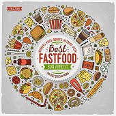 Colorful vector hand drawn set of Fast food cartoon doodle objects, symbols and items. Round frame composition