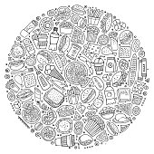 Line art vector hand drawn set of Fast food cartoon doodle objects, symbols and items. Round composition