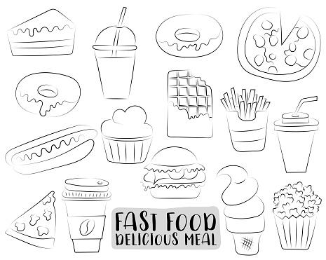 Fastfood Cartoon Pictogrammen En Objecten Instellen