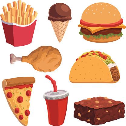 Fast Food Cartoon Set