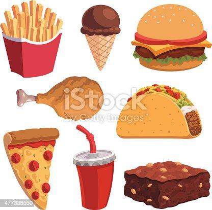 Set of vector cartoon fast foods including:
