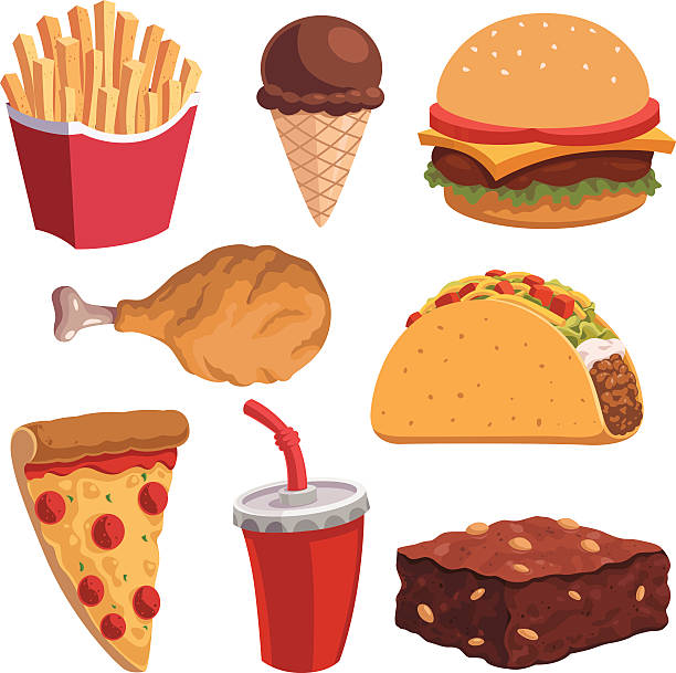 fast food cartoon set - junk food stock illustrations, clip art, cartoons, & icons