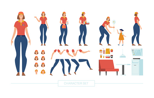 Fast Food Cashier Character Constructor Vector Set
