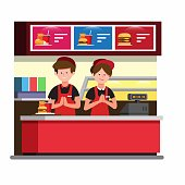 fast food cashier counter, man and woman wear uniform work in burger restaurant in cartoon flat illustration