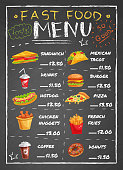 Fast food restaurant menu with sandwiches nuggets potato fries pizza donuts drinks on black chalkboard vector illustration