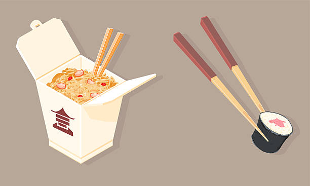 fast food chinese take out - chinese food stock illustrations, clip art, cartoons, & icons